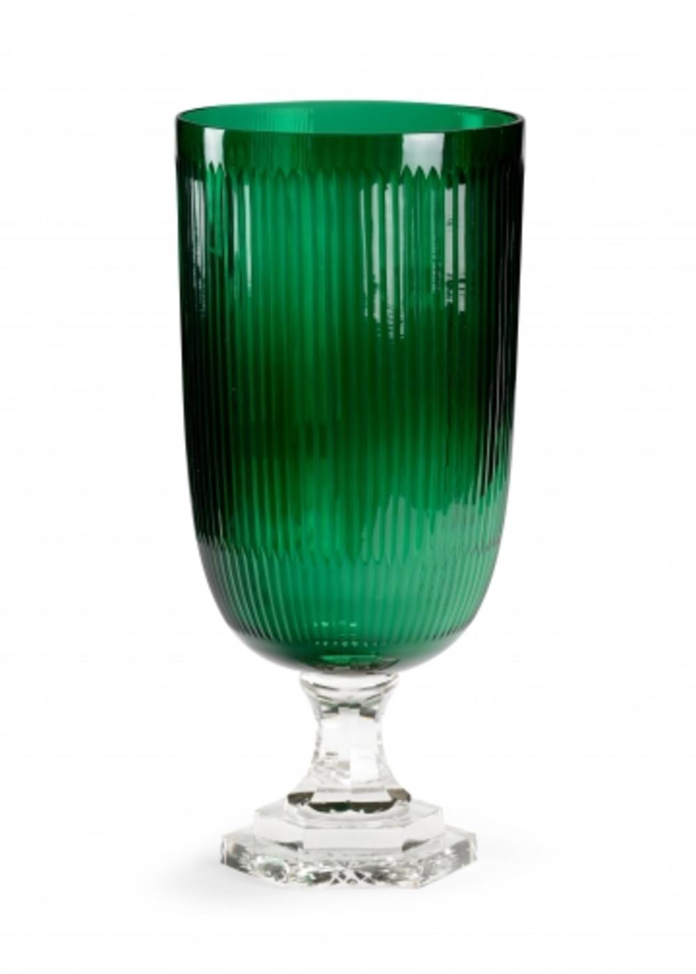 Wildwood Lamp - Cut Glass Hurricane, Emerald