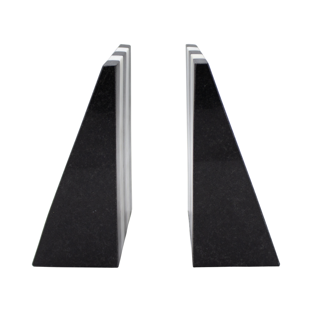 Worlds Away - Pair Of Black And White Marble Bookends