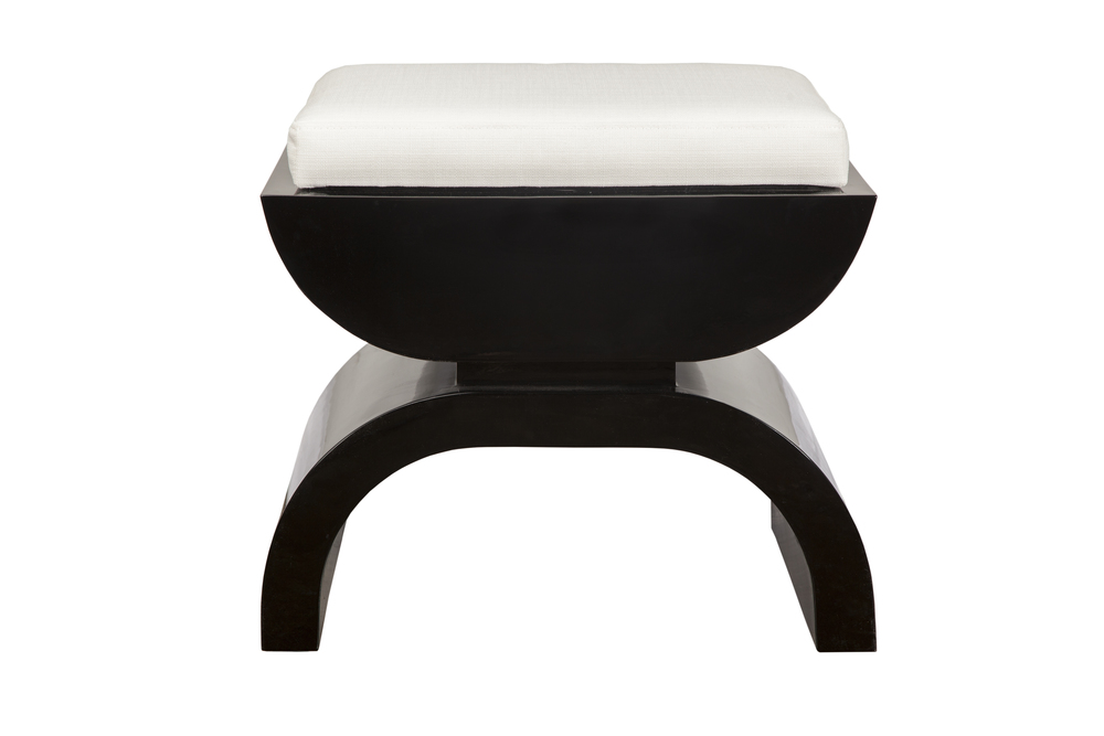 Worlds Away - Black Lacquer Base with White Linen Seat