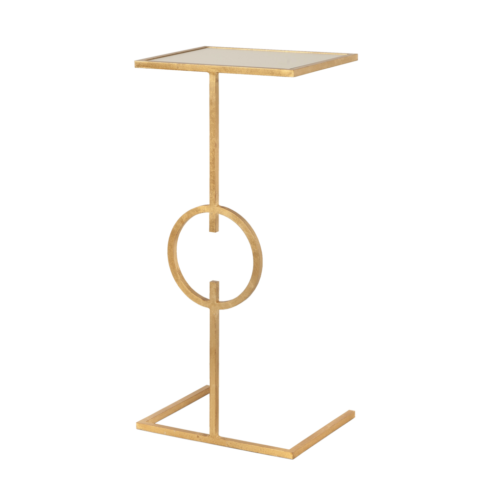 Worlds Away - Gold Leaf Cigar Table with Circle Motif and Mirror Top