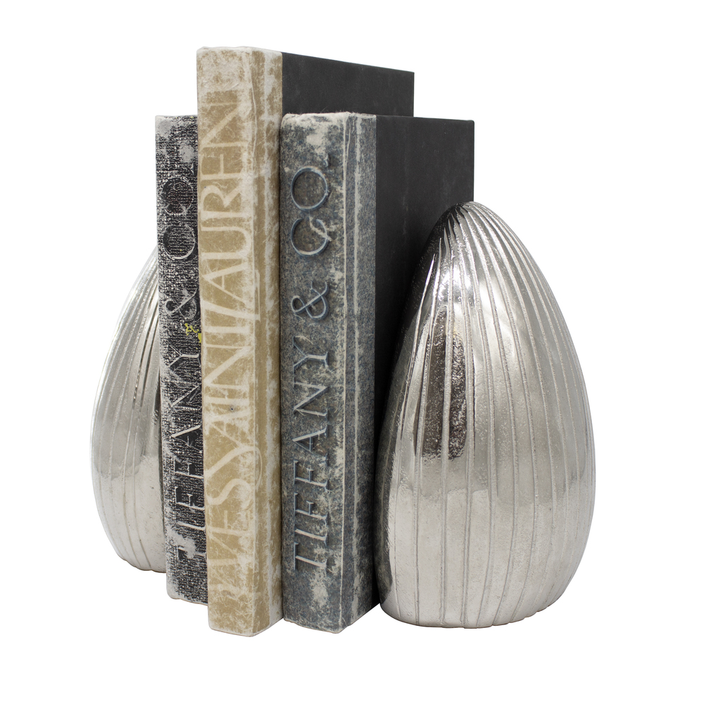Worlds Away - Pair Of Hand Textured Antique Nickel Bookends