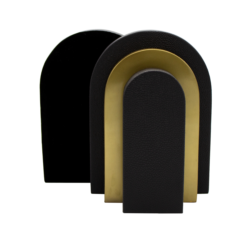 Worlds Away - Pair Of Antique Brass And Black Shagreen Bookends
