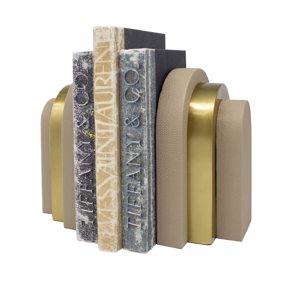 Worlds Away - Pair Of Antique Brass And Beige Shagreen Bookends