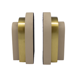Thumbnail of Worlds Away - Pair Of Antique Brass And Beige Shagreen Bookends