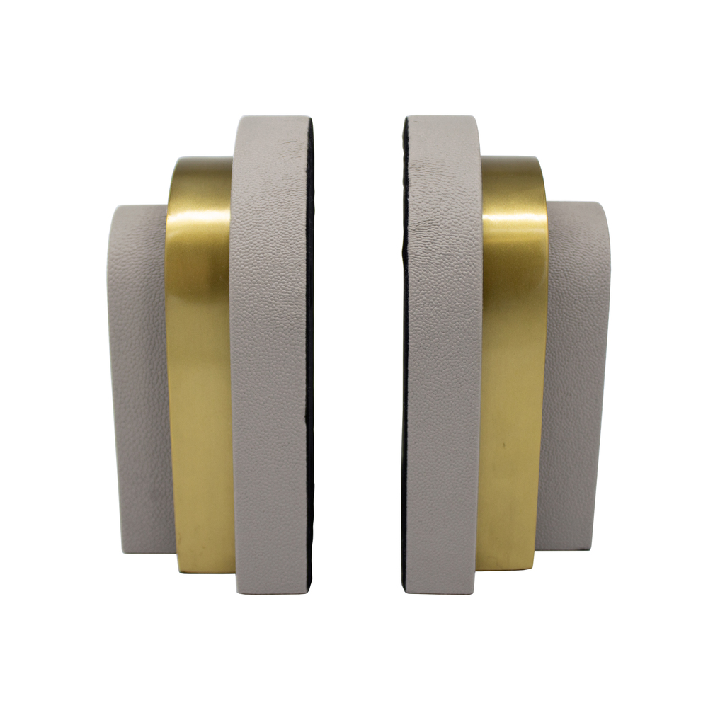 Worlds Away - Pair Of Antique Brass And Grey Shagreen Bookends