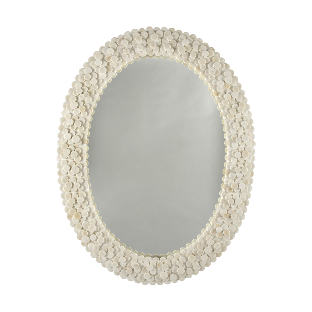 Worlds Away - Oval Frame Mirror Layered Circular Natural Bone