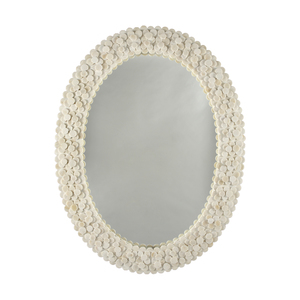 Thumbnail of Worlds Away - Oval Frame Mirror Layered Circular Natural Bone