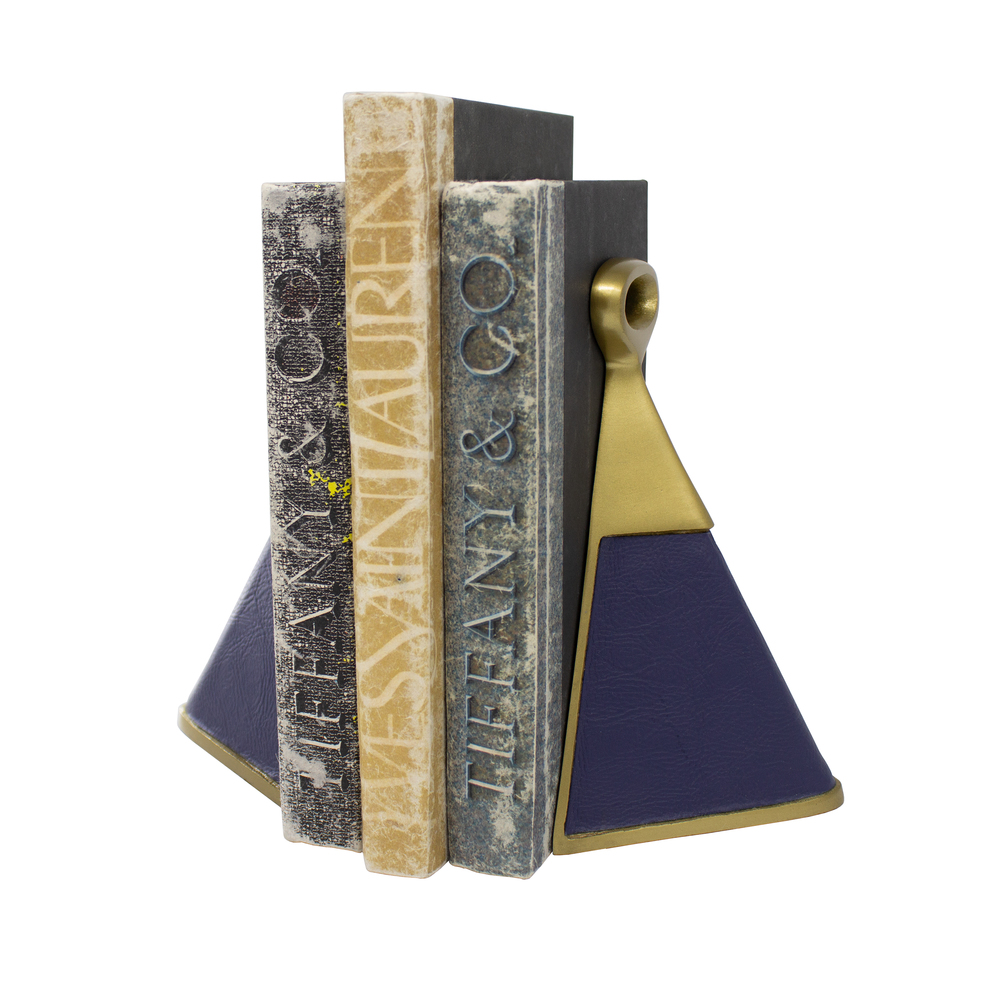 Worlds Away - Pair Of Antique Brass And Navy Faux Leather Bookends