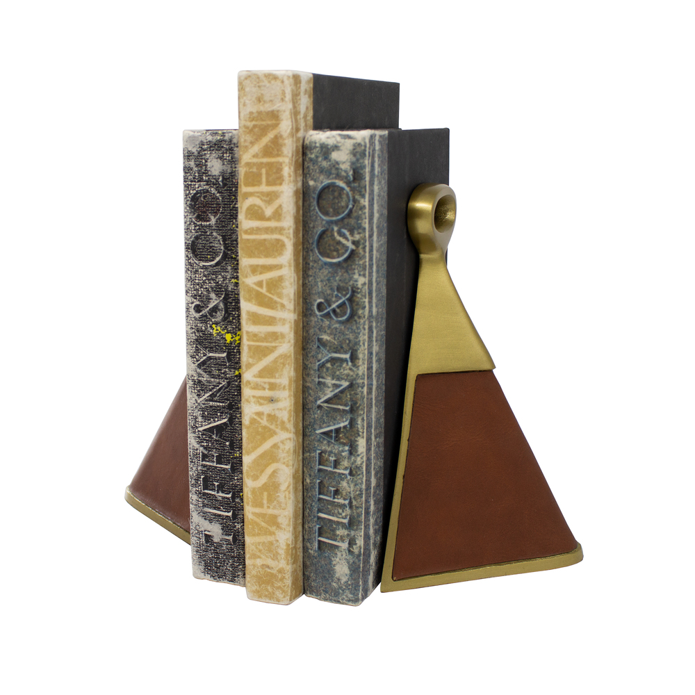 Worlds Away - Pair Of Antique Brass And Brown Faux Leather Bookends