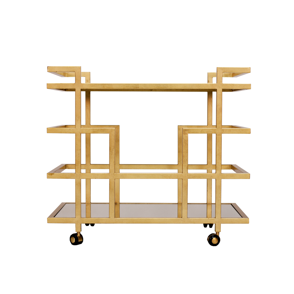 Worlds Away - Gold Leaf Bar Cart with Mirror Top