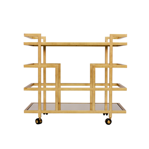 Thumbnail of Worlds Away - Gold Leaf Bar Cart with Mirror Top