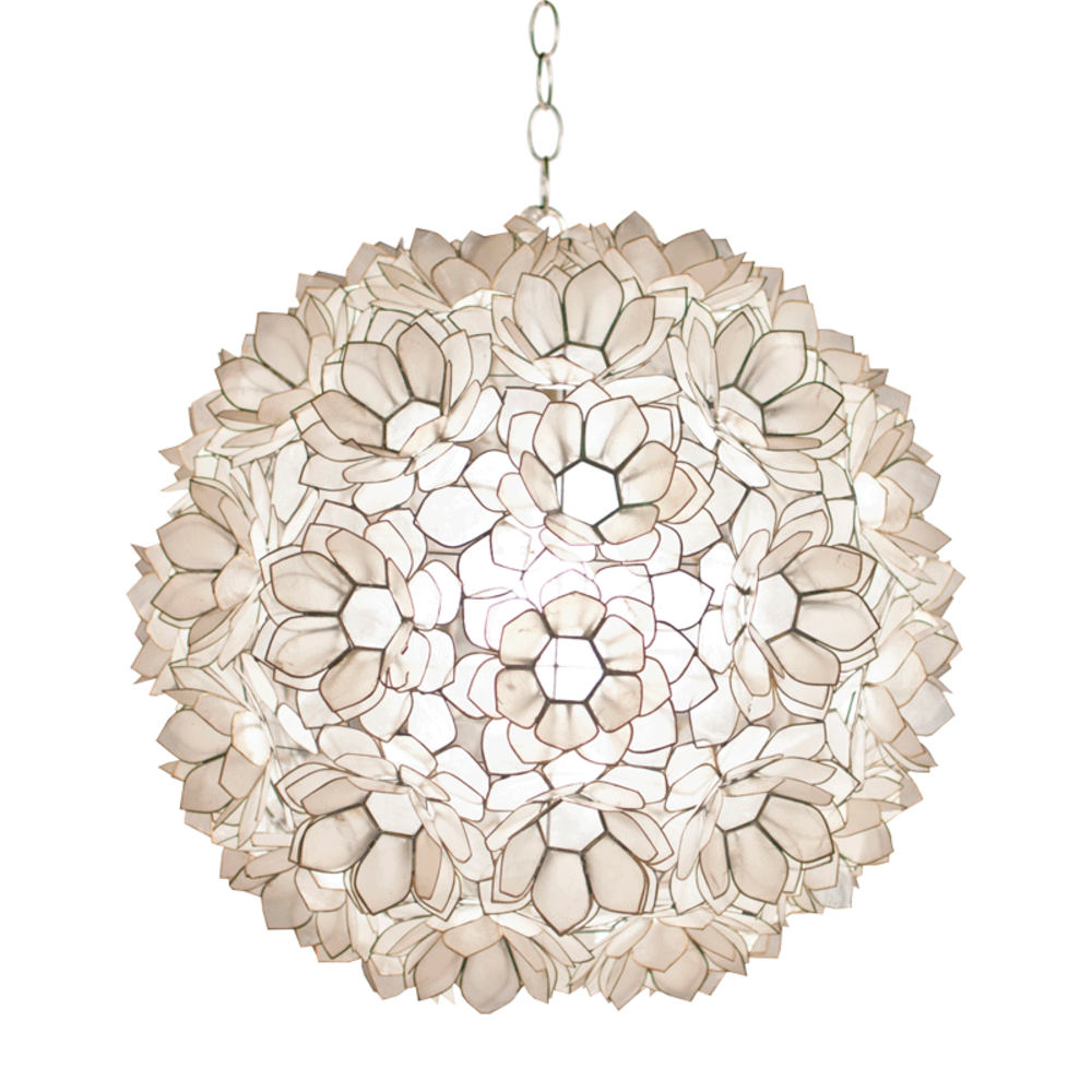 Worlds Away - Capiz Ball Floral Pendant