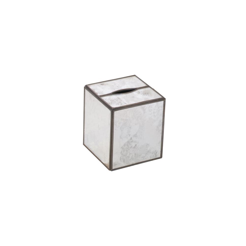 Worlds Away - Kleenex Box, Antique Mirror Plain
