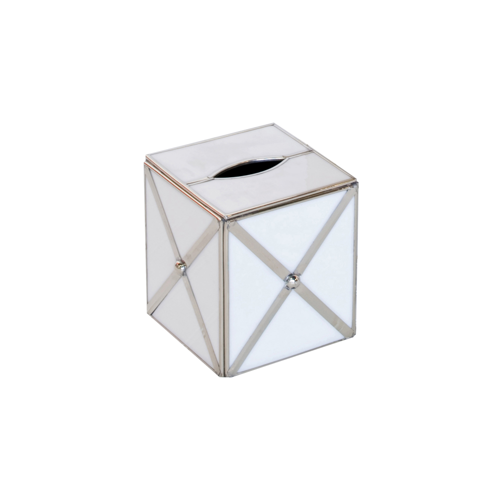 Worlds Away - White Glass Crosshatch Kleenex Box