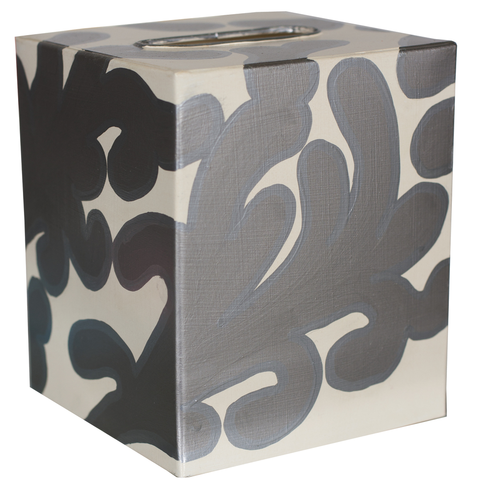 Worlds Away - Kleenex Box, Silver and Cream