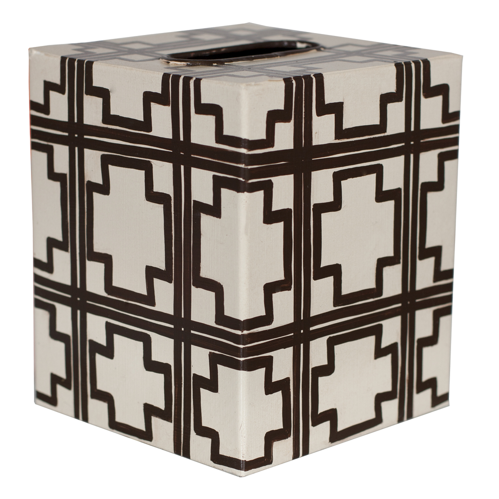 Worlds Away - Kleenex Box, Cream and Brown Trellis