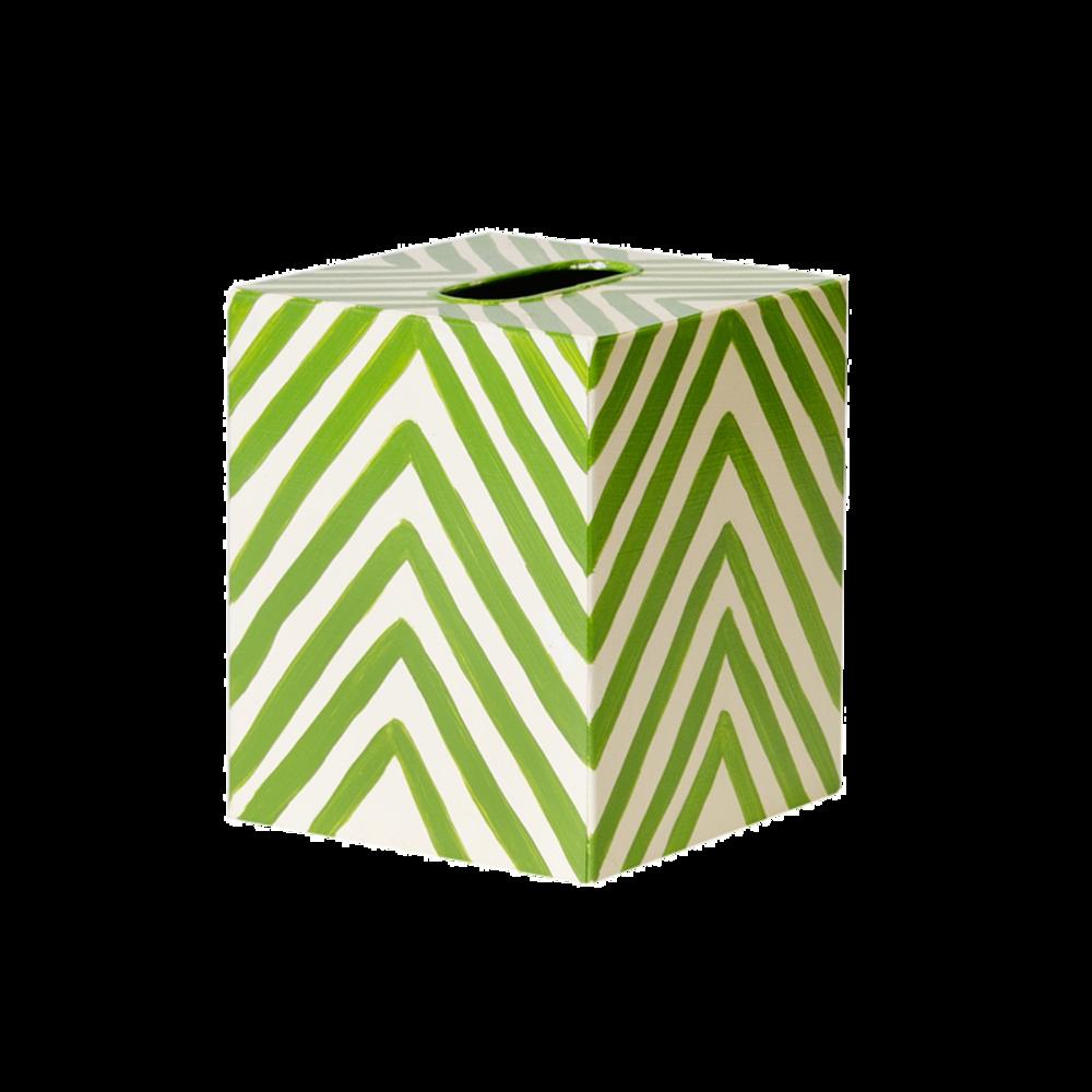 Worlds Away - Kleenex Box, Cream and Green Zebra