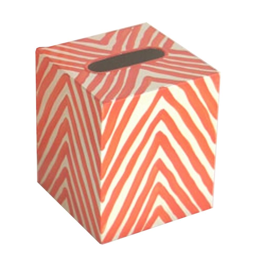 Worlds Away - Kleenex Box, Cream and Orange Zebra