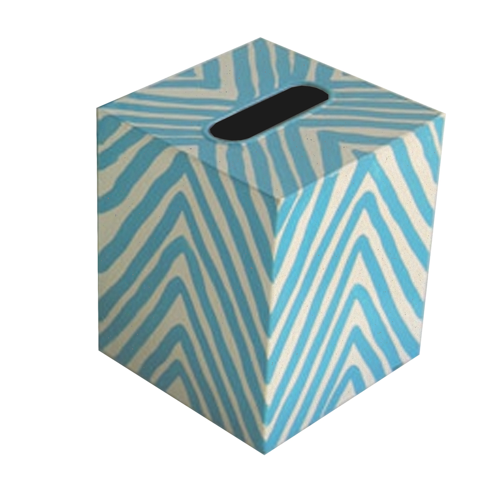 Worlds Away - Kleenex Box, Cream and Turquoise Zebra
