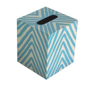 Thumbnail of Worlds Away - Kleenex Box, Cream and Turquoise Zebra