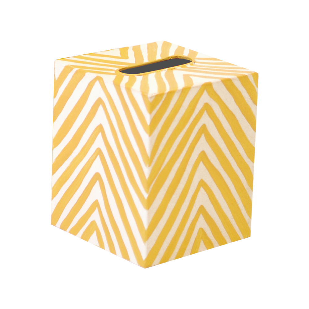 Worlds Away - Tissue Box, Zebra Print, Yellow