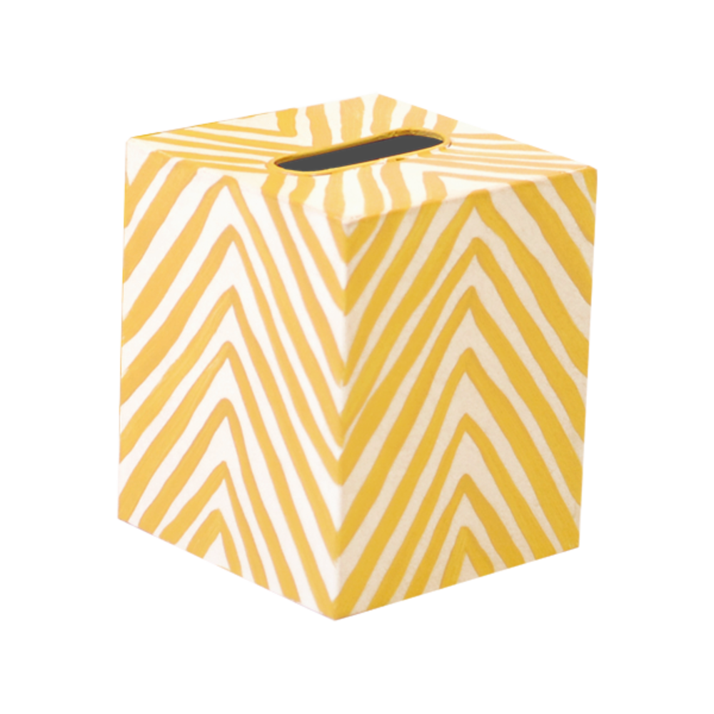Worlds Away - Tissue Box, Zebra Print, Yellow