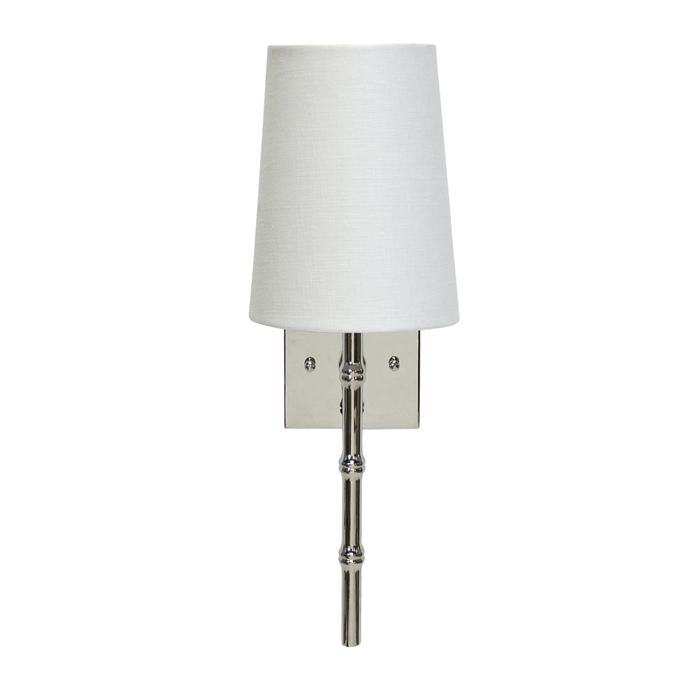 Worlds Away - Nickel Sconce Bamboo Detail White Linen Shade