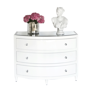 Thumbnail of Worlds Away - Three Drawer White Lacquer Chest, Glass Knobs