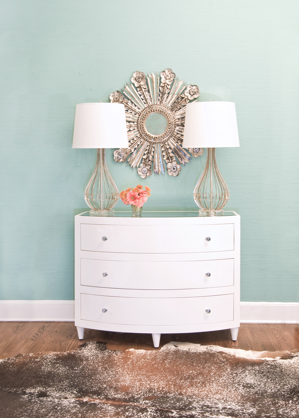 Worlds Away - Three Drawer White Lacquer Chest, Glass Knobs