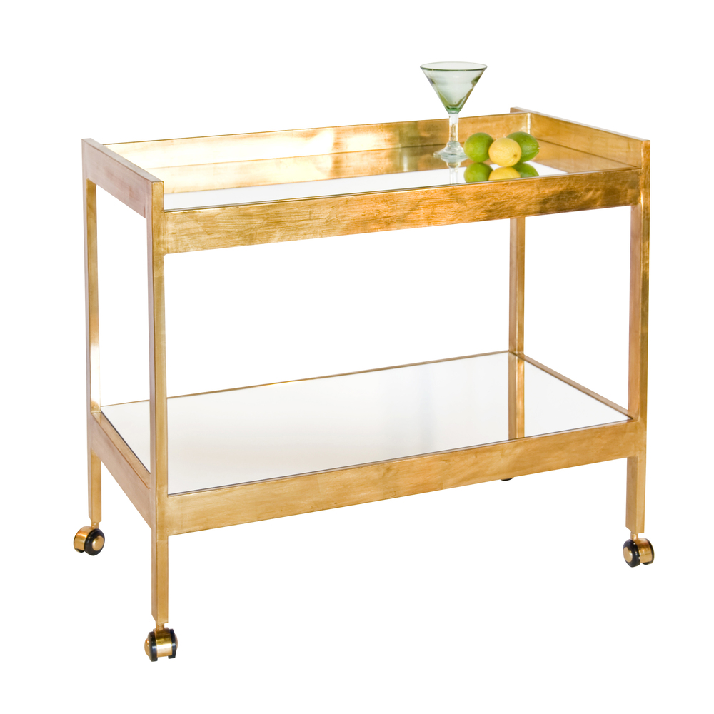 Worlds Away - Gold Leaf and Mirrored Bar Cart with Gold Casters