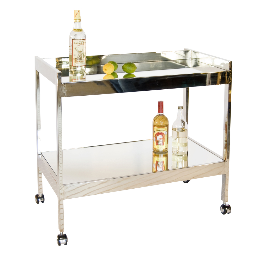 Worlds Away - Nickel Plated Bar Cart with Silver Casters