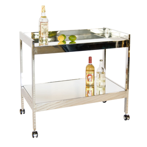 Thumbnail of Worlds Away - Nickel Plated Bar Cart with Silver Casters