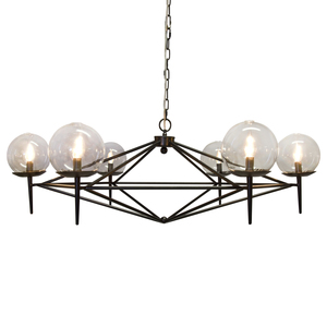 Thumbnail of Worlds Away - Black Powder Coated Chandelier with Glass Globes