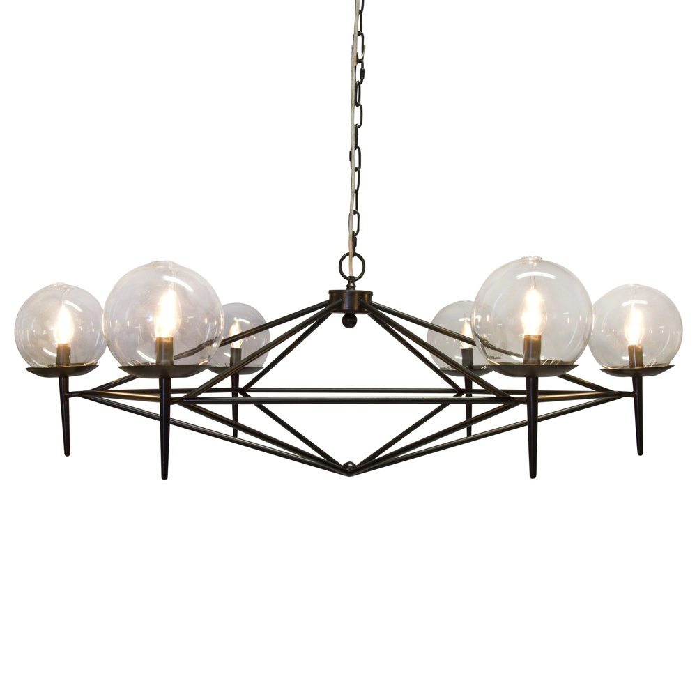 Worlds Away - Black Powder Coated Chandelier with Glass Globes