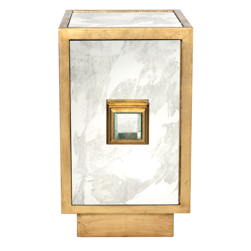 Worlds Away - Antique Mirror Gold Leafed Side Table