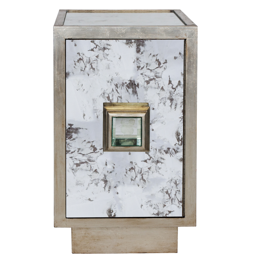 Worlds Away - Antiqued Mirror Side Table Silver Leafed