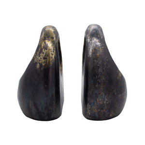 Thumbnail of Worlds Away - Pair Of Antique Black Sculptural Bookends