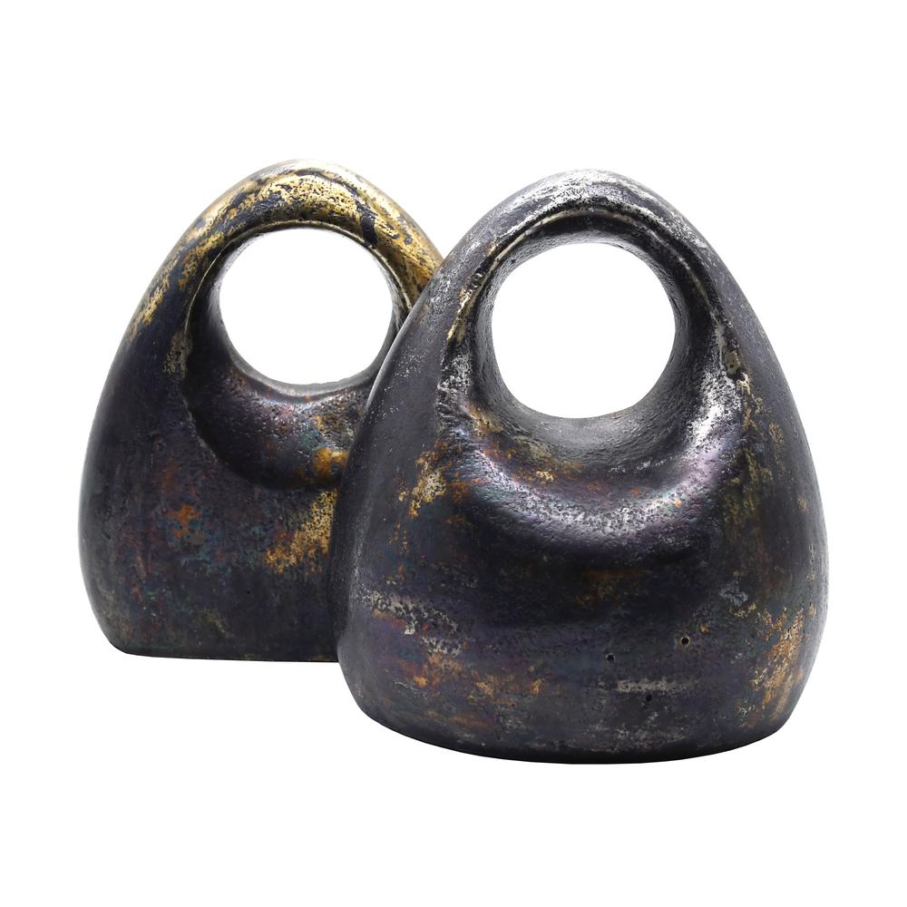Worlds Away - Pair Of Antique Black Sculptural Bookends