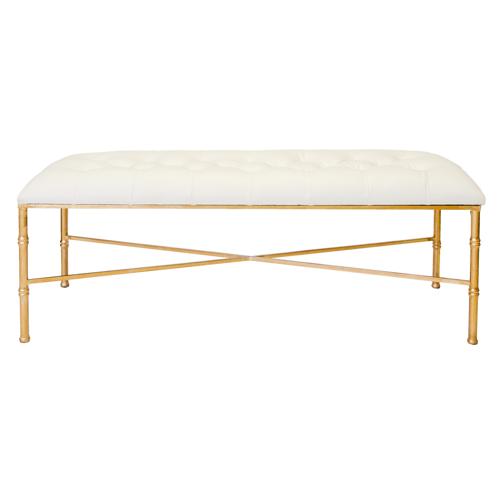 Worlds Away - Gold Leaf Bamboo Bench with Tufted White Vinyl Seat