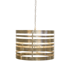 Thumbnail of Worlds Away - Silver Leaf Metal Striped Pendant Three Light Cluster