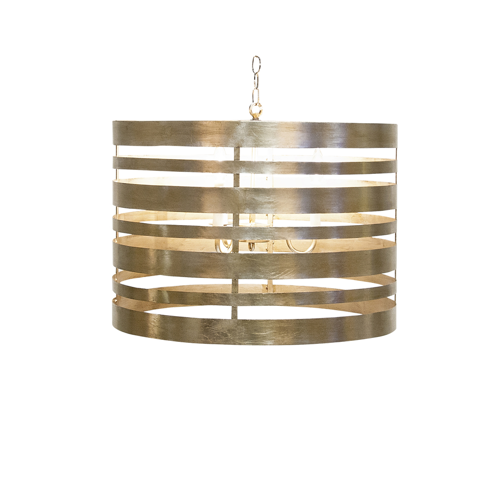 Worlds Away - Silver Leaf Metal Striped Pendant Three Light Cluster