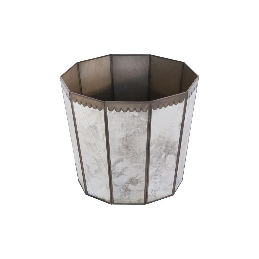 Worlds Away - Wastebasket Antique Mirror Hexagonal