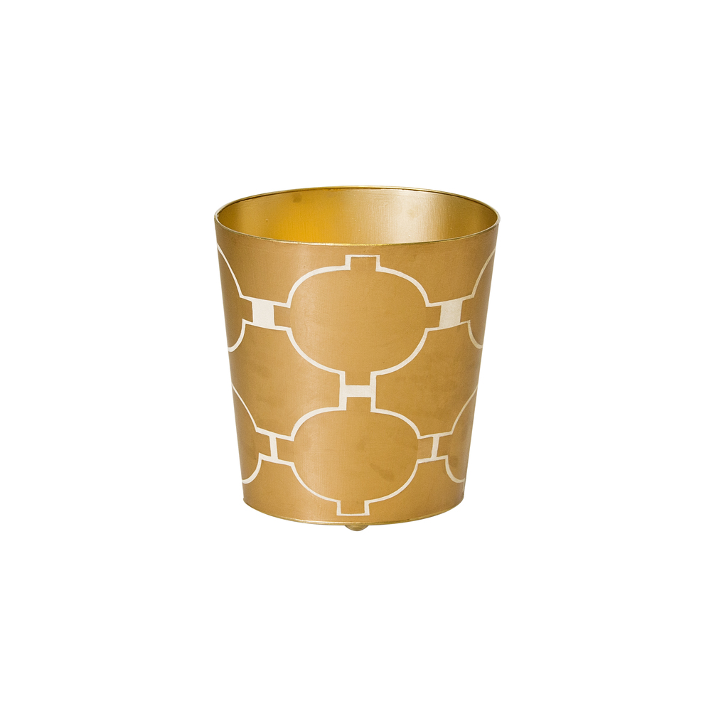 Worlds Away - Oval Wastebasket Gold and Cream