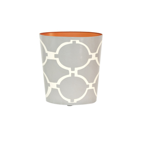 Thumbnail of Worlds Away - Wastebasket Oval Grey and Cream