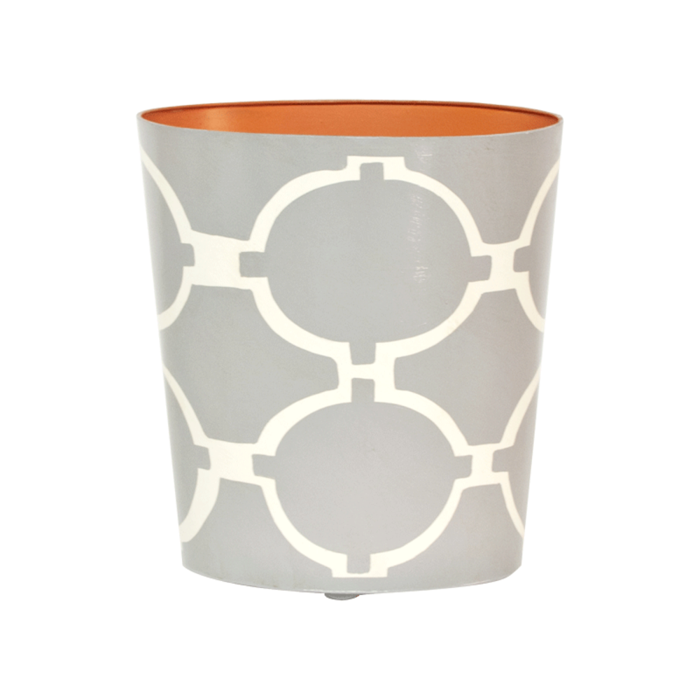 Worlds Away - Wastebasket Oval Grey and Cream