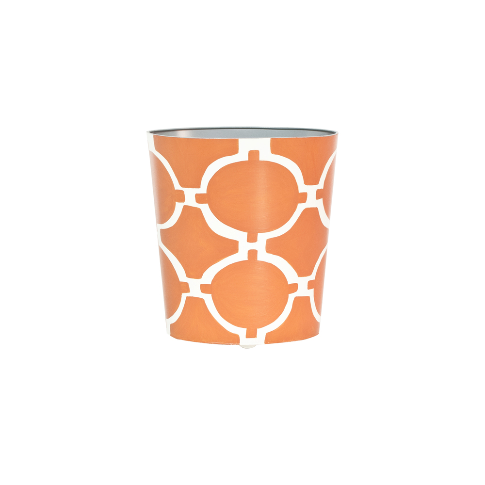 Worlds Away - Oval Wastebasket Orange and Cream