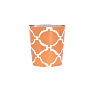 Thumbnail of Worlds Away - Oval Wastebasket Orange and Cream
