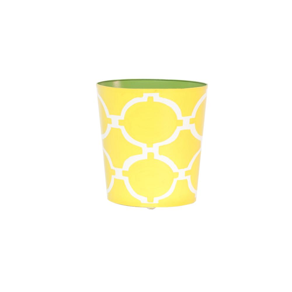 Worlds Away - Wastebasket Yellow and Cream