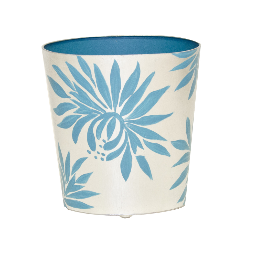Worlds Away - Oval Wastebasket with Cream and Blue Dahlia