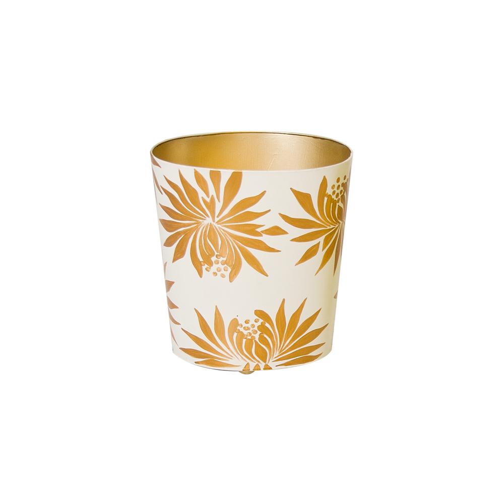 Worlds Away - Oval Wastebasket with Cream and Orange Dahlia